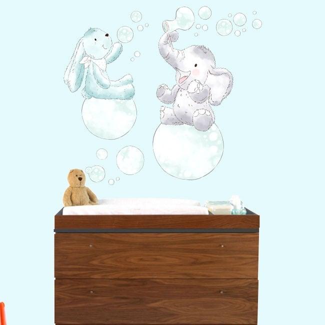 Vinile per bambini o neonati animali con bolle di sapone