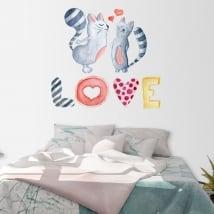Adesivi murali gatti con testo love in acquerello