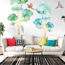 Vinile e adesivi alberi con pappagalli o are