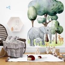 Adesivi murali animali e natura in acquerello