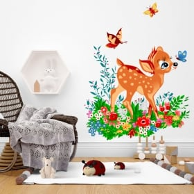 Vinili bambi con uccellino fiori e farfalle in acquerello