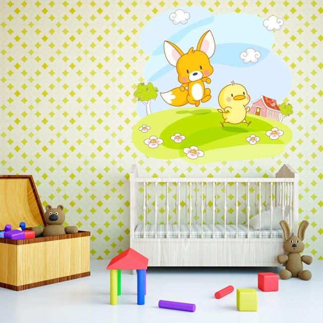 Vinile e adesivi per bambini o neonati volpe e pulcino
