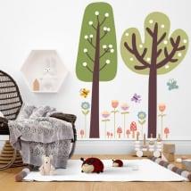 Adesivi murali alberi con fiori e farfalle