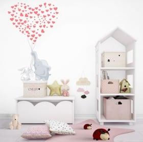 Vinile decorativo per bambini o neonati elefanti