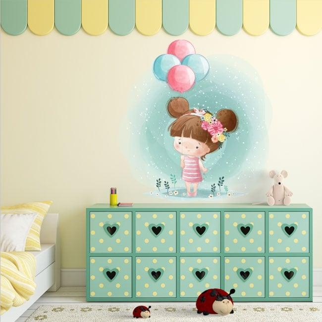 Vinile decorativo per bambini ragazza con palloncini