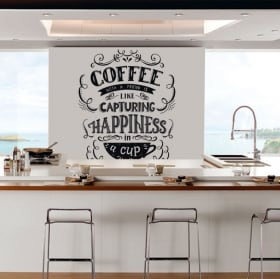 Vinile e adesivi da cucina frase inglese coffee