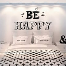 Vinile decorativo frasi inglesi be happy