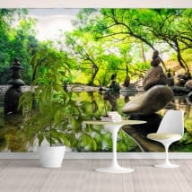 Murales in vinile paesaggio pietre meditazione zen
