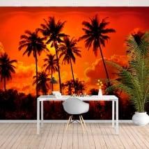 Murales in vinile palme e tramonto sulla spiaggia