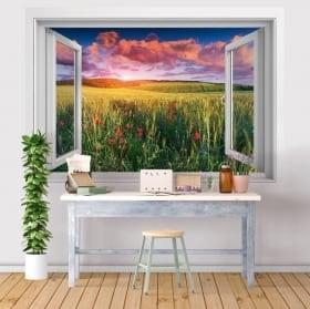 Vinili finestre 3d fiori del papavero nel campo al tramonto