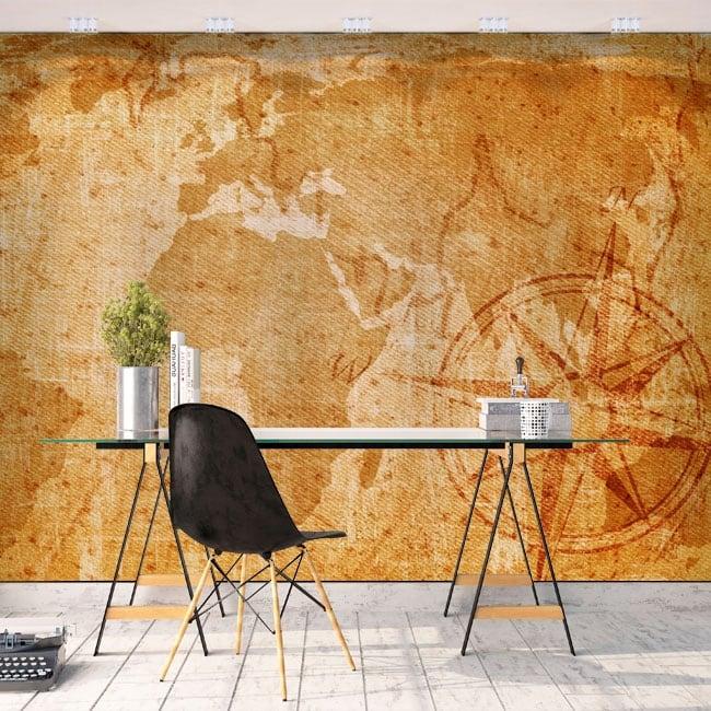 Murales adesivi mappa del mondo vintage