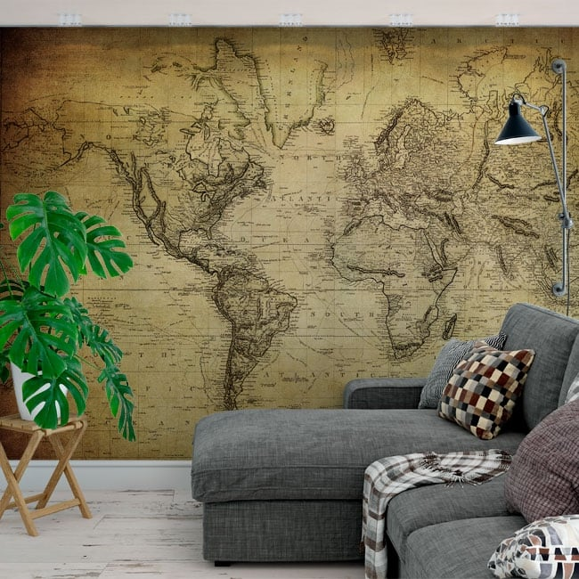 Murales adesivi mappa del mondo in stile vintage