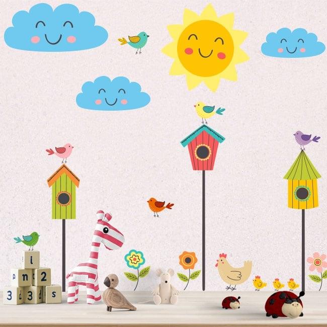 Vinile per bambini uccelli con polli e pulcini