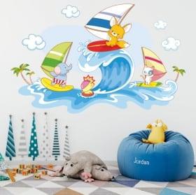 Decalcomanie da muro animali bambini windsurf sulla spiaggia