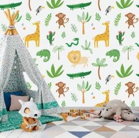 Murales per bambini animali della giungla
