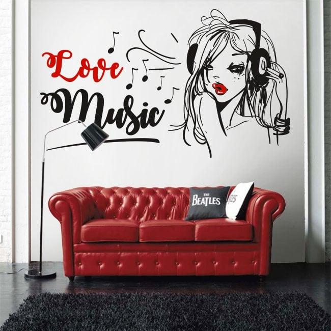 Vinile e adesivi silhouette donna love music