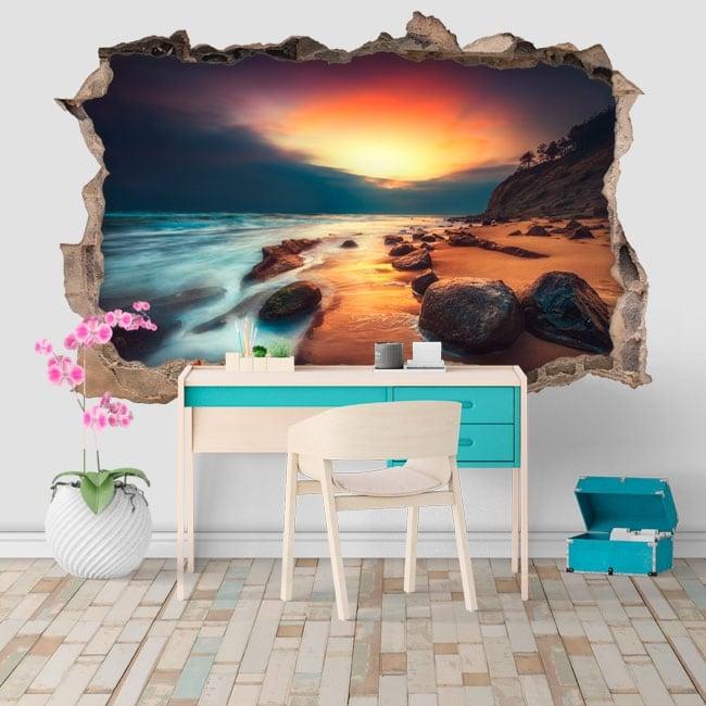 Vinile e adesivi 3d alba sulla spiaggia