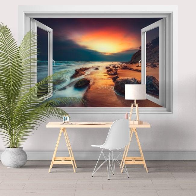 Adesivi murali finestra 3d alba sulla spiaggia