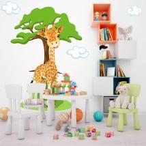Vinile per bambini giraffa con albero e nuvole