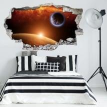 Vinili 3d pianeta terra con marte e il sole