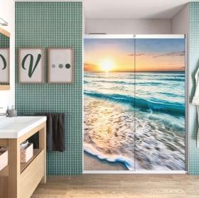 Vinile decorativo schermi del bagno spiaggia al tramonto