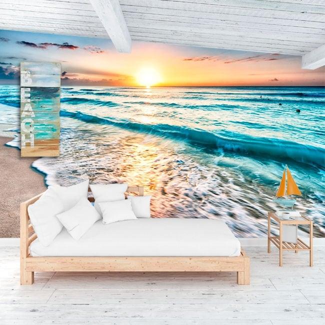 Murales in vinile tramonto sulla spiaggia