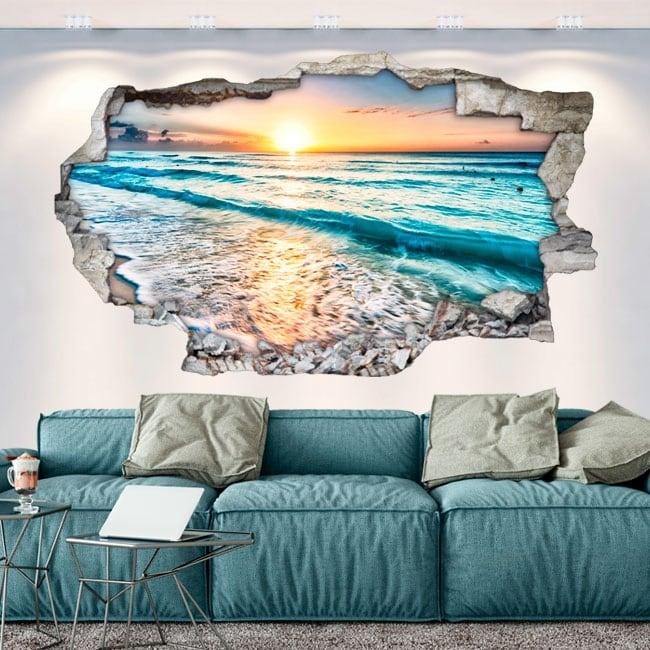 Vinili buco nel muro tramonto sulla spiaggia 3d