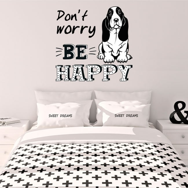 Vinile decorativo frase inglese don't worry be happy