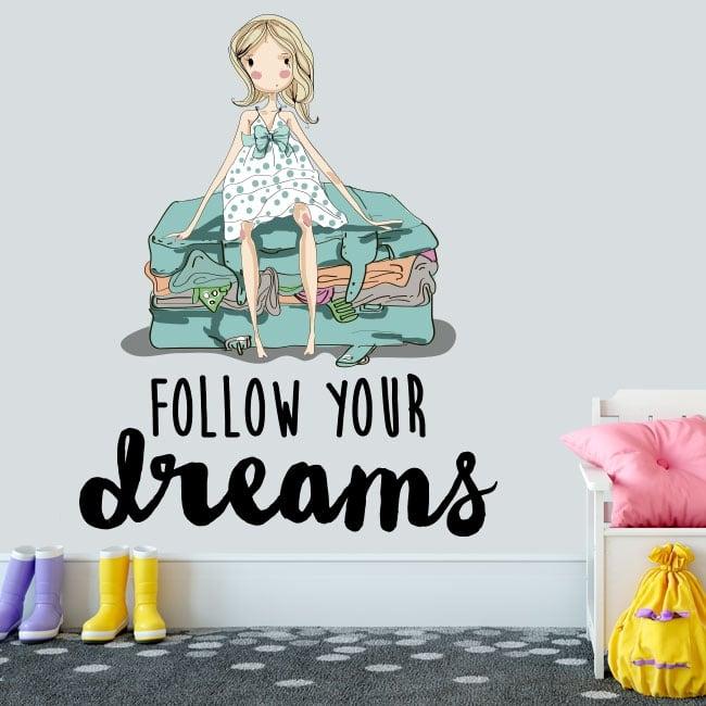 Vinile decorativo frase inglese follow your dreams
