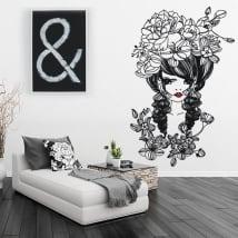 Vinile decorativo e adesivi silhouette donna con fiori