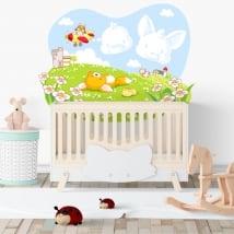 Vinile per bambini o neonati volpe e pulcino nel campo