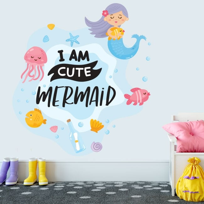 Vinile decorativo frase inglese i am cute mermaid