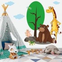 Vinile per bambini o giovani animali nella foresta