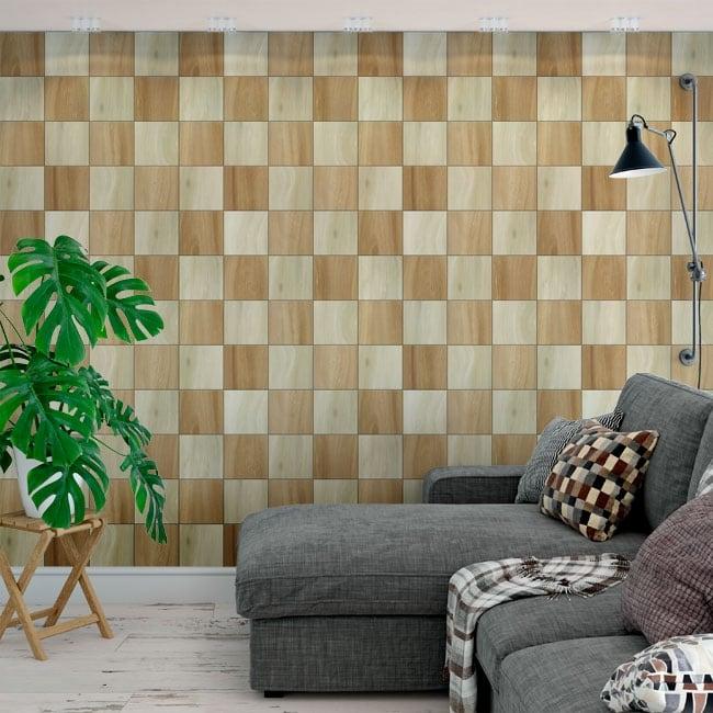 Murales in vinile quadrati di legno