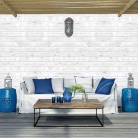 Murales in vinile con effetto legno bianco