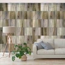 Murales in vinile quadrati effetto legno
