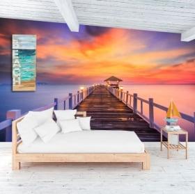 Murales tramonto sul ponte dell'isola