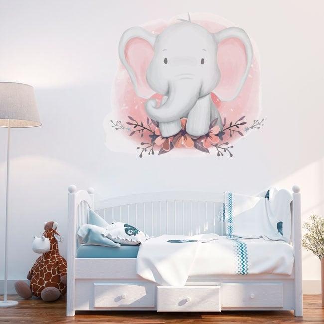 Vinile e adesivi elefante con fiori per bambini