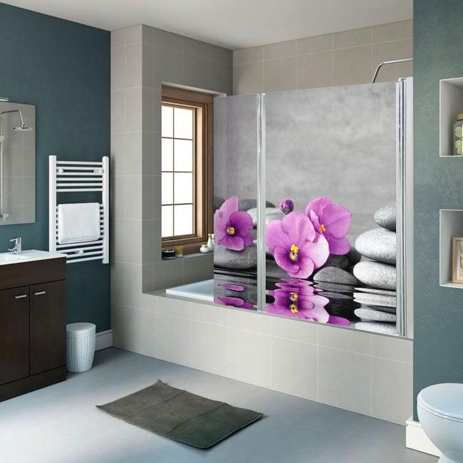 Vinili schermi da bagno pietre e fiori zen