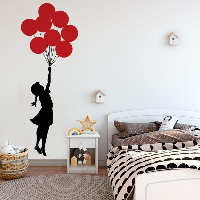 Vinile decorativo e adesivi banksy ragazza con palloncini