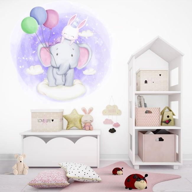 Vinili e adesivi per bambini elefante e coniglio tra le nuvole