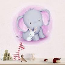 Vinile e adesivi per bambini o neonati elefante e coniglio