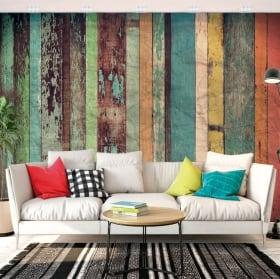 Murales in vinile effetto legno bianco rustico