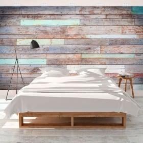 Murales in vinile legno colorato rustico