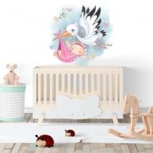 Vinile decorativo bambina e cicogna per neonati