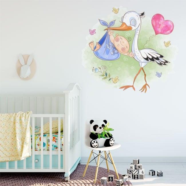Vinile decorativo per neonati cicogna e bambino