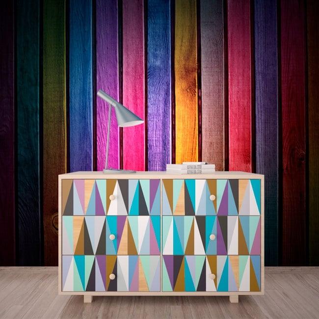 Murales imitazione di legno multicolore