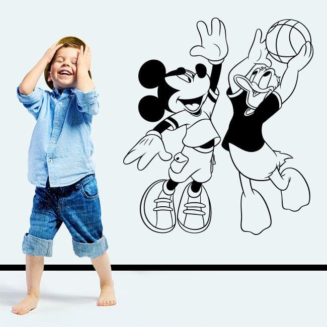 Vinile topolino e paperino giocando a basket