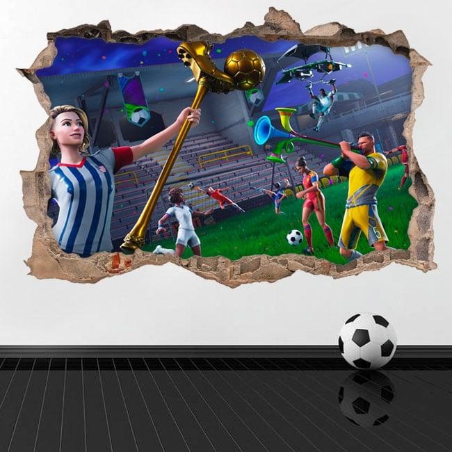 Vinile decorativo 3d videogioco fortnite coppa del mondo