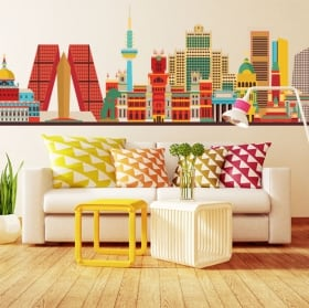 Vinile decorativo skyline di madrid